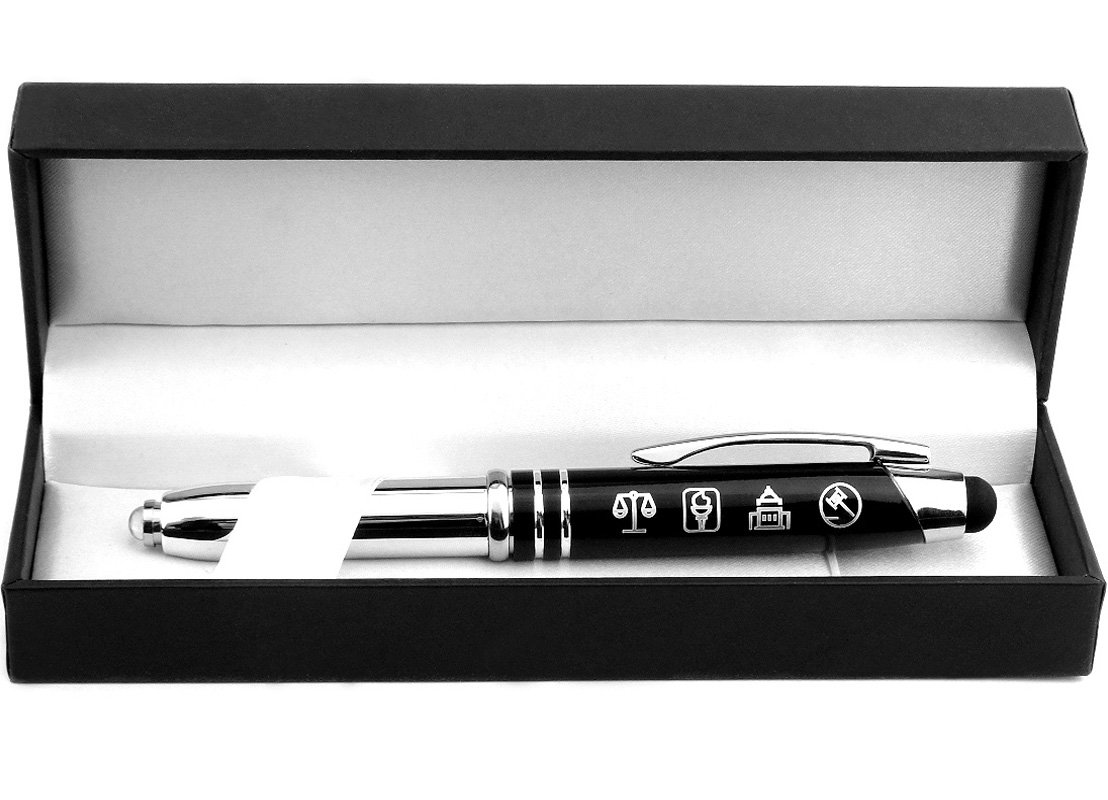 Symbols of Law and Justice - Gift Pen with Light and Stylus Tip - Gift for Lawyers, Law Students, Paralegals, Judges, Government Officials, Police Officers by Inkstone (Image #1)