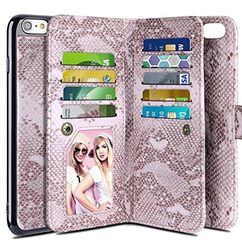 iPhone 6S Plus Case, Vofolen iPhone 6S Plus Wallet Case Card Holder Slot Snakeskin Grain PU Leather Pocket Folio Flip Case + Wristband Magnetic Detachable Slim Cover for iPhone 6S (Snakeskin Protector Case)