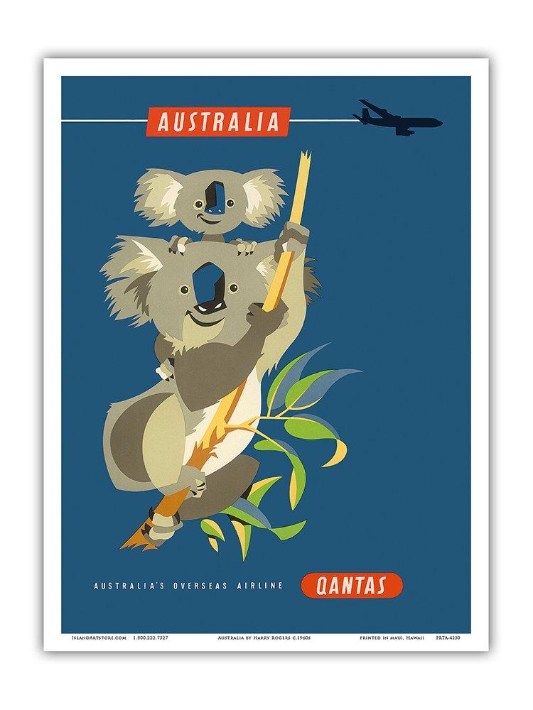 Pacifica Island Art Australia Qantas Empire Airways Master Art Print QEA - Vintage Airline Travel Poster by Harry Rogers c.1960s 13in x 19in Inc. Koala Bears