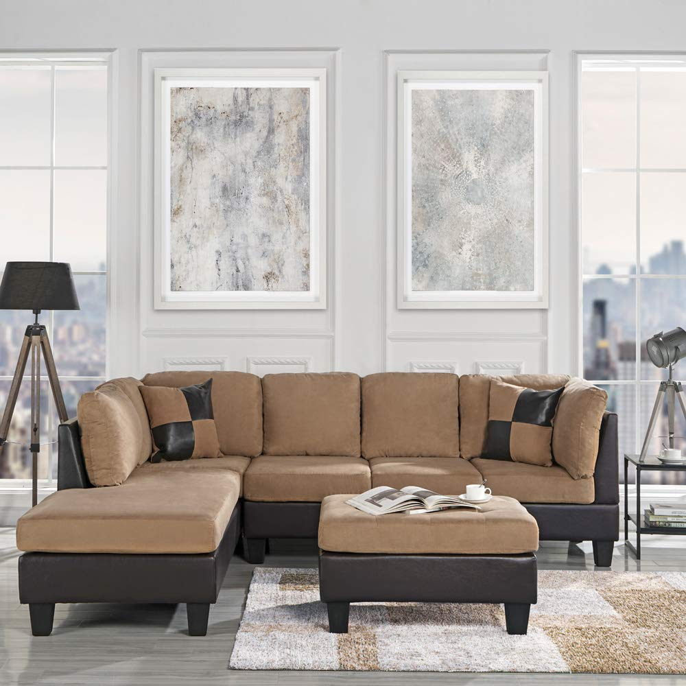 3-Piece Modern Reversible Microfiber / Faux Leather Sectional Sofa Set w/ Ottoman (Saddle) by Casa Andrea Milano