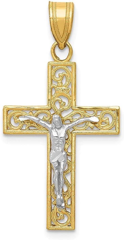 Solid 14k Yellow Gold Two-Tone Diamond-Cut Small Block Filigree Cross with Crucifix Pendant 16mm x 31mm