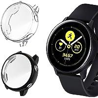 Jasinber 2-Pack Protector de visualización Completa Funda Carcasa Case Compatible con Samsung Galaxy Watch Active (Negro + Transparente)