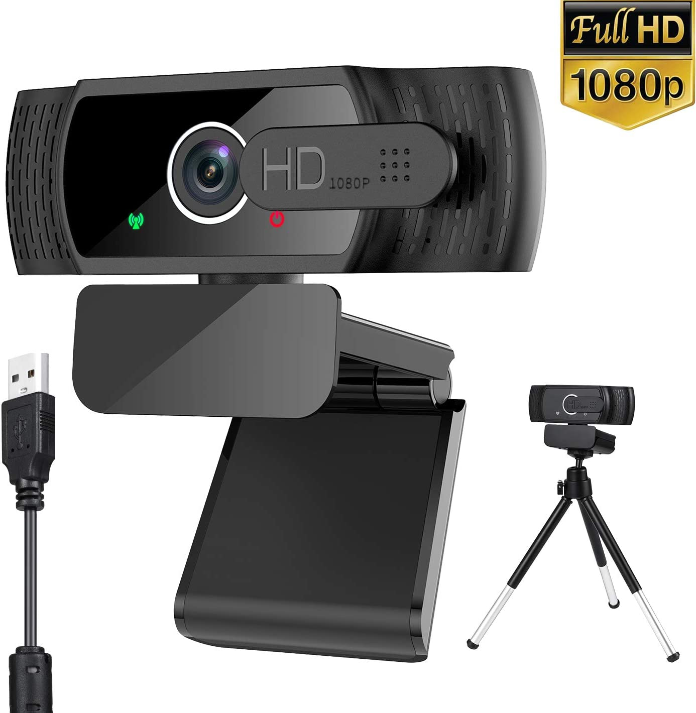 Webcam with Microphone, AXUF 1080P HD Webcam with Privacy Cover &Tripod,110-Degree Wide Angle Streaming Web Camera, USB Laptop Desktop Web Camera Built-in Mic for Video Calling Conference Recording