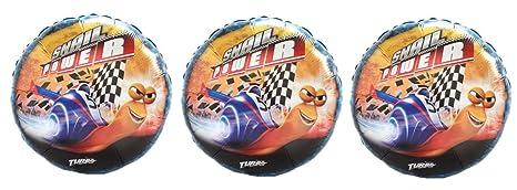 3 Turbo Snail Foil Balloons - Multipack of 3 Dreamworks Turbo Snail Power Balloons