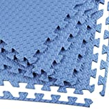 Clevr Interlocking EVA Gym Foam Floor Mat Tiles (24'' x 24'') | Protective Flooring for Exercise Gym Equipment | Includes Tile Borders | Blue | 24 sq. ft | 6 Pieces | Steel Pattern