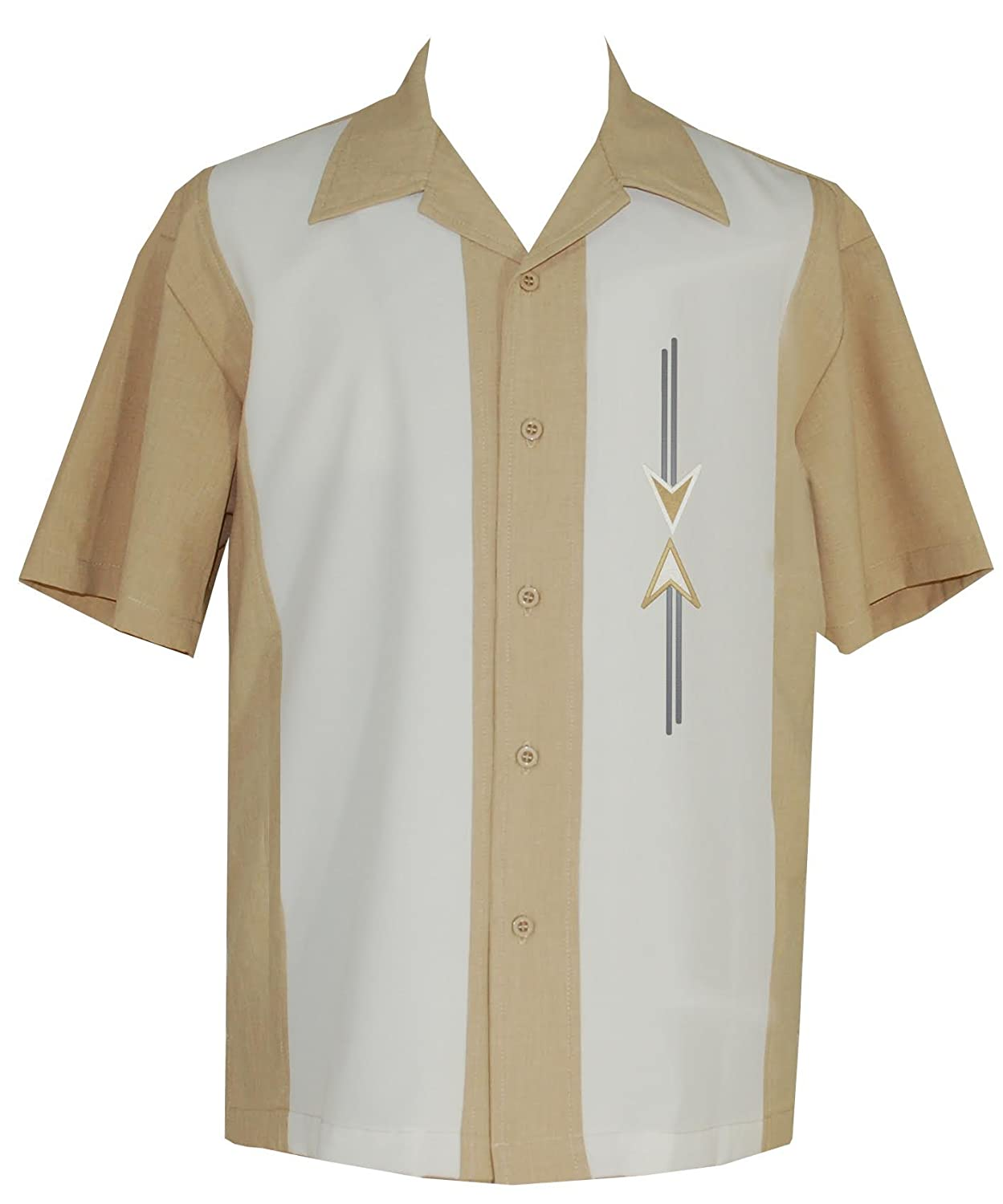 1950s Men's Clothing Lucky Paradise Mens Camp Shirt Vintage Cuban Style Bowling Shirt ~ Tom Collins ~ Guayabera Dress Shirt Style $54.95 AT vintagedancer.com