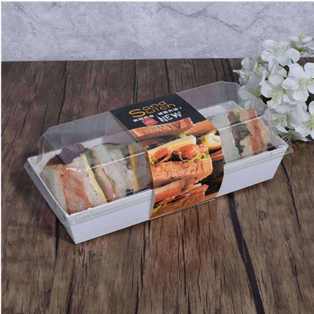 Reusable Sandwich Craft Paper Box with Clear Lids50 Sets, Fits Large Sushi Container,Swiss Roll ContainerMuffin Cheese Pastry Dessert Fruits Food Storage Holder 7.5