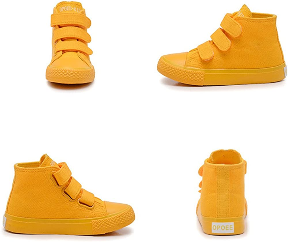 US 1.5 M Little Kid=Insole length 21cm Yellow MK MATT KEELY High Top Canvas Shoes Kids Boys Yellow Sneakers For Toddler Girl Hook Loop School Board Shoes Toddler Little//Big Kids