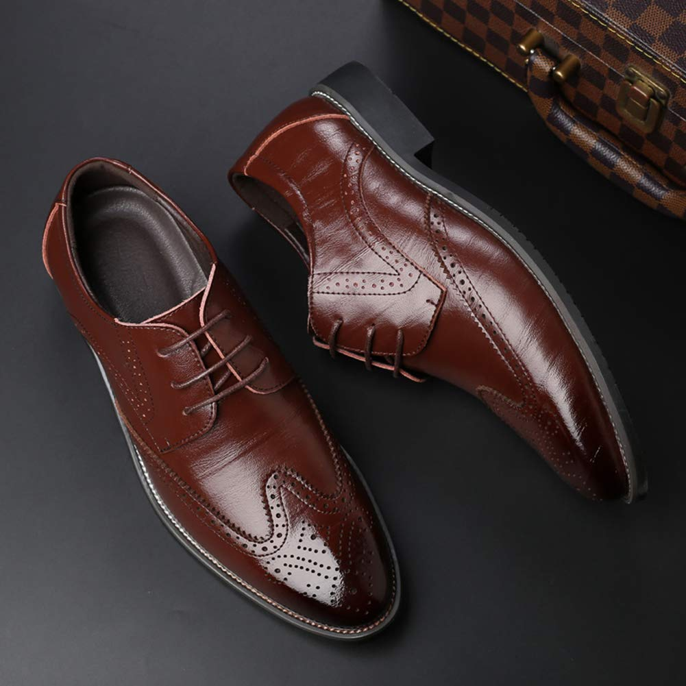 Victorics Mens Brogue Carved Wingtip Leather Oxford Shoes Lace up Dress Shoes Size 7-13