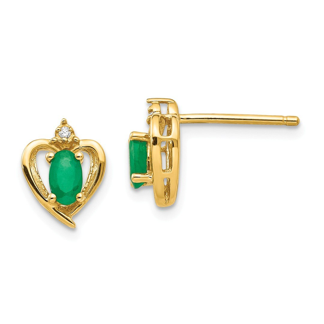 ICE CARATS 14k Yellow Gold Diamond Green Emerald Post Stud Ball Button Earrings Birthstone May Love Set Style Fine Jewelry Gift Set For Women Heart by ICE CARATS