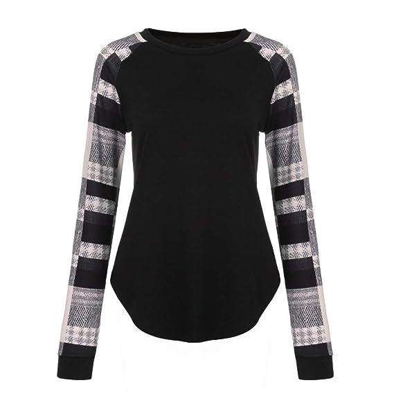 Yesmile ❤ ❤ Moda Mujer Rayada Casual Top Camiseta Mujer otoño niña Blusa Suelta