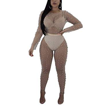 5d292442f7b Amazon.com  Kafiloe Womens Sexy Mesh See Through Lace Long Sleeve Bodycon  Jumpsuit Rompers Pants Party Clubwear  Clothing