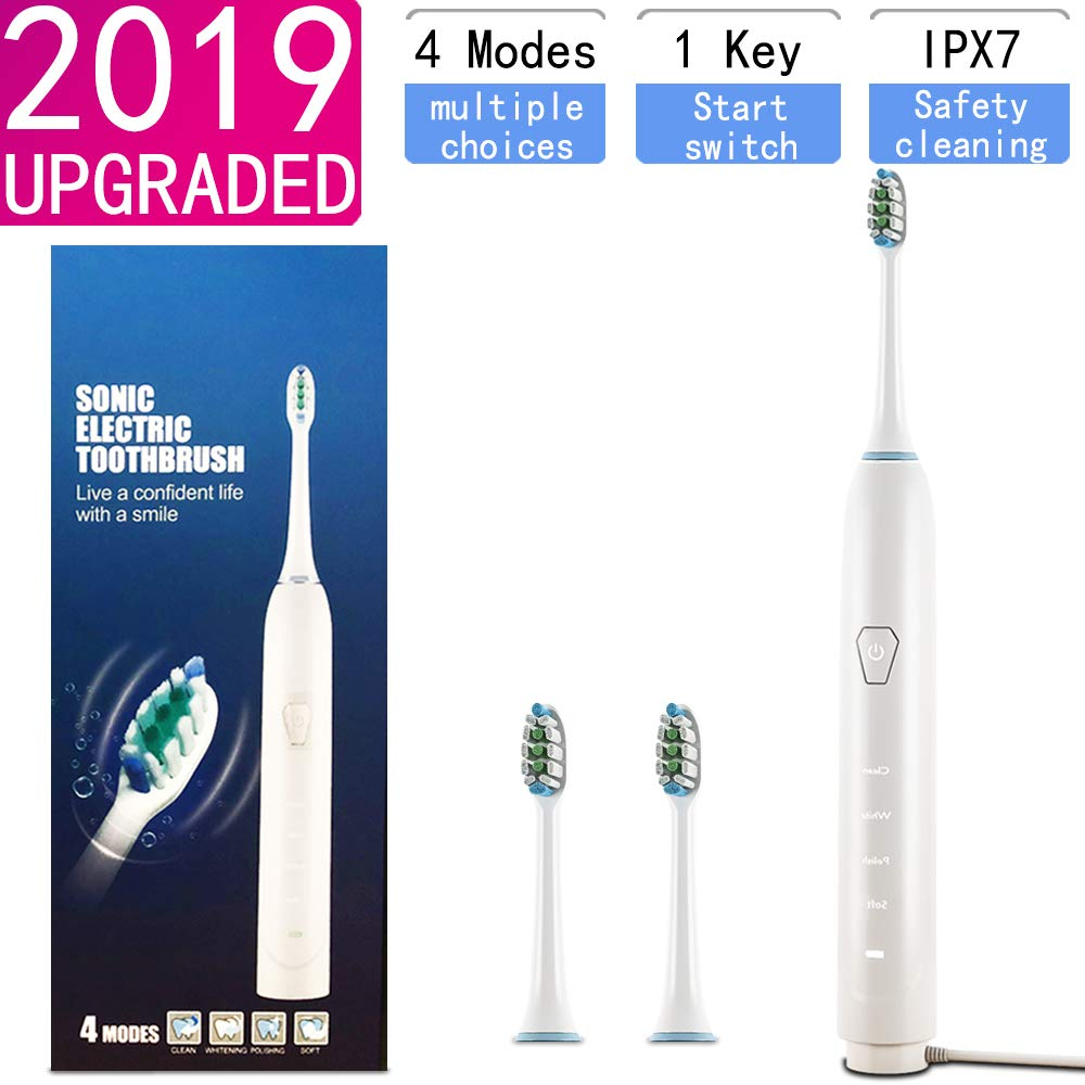 Sonic Electric Toothbrush with Charging Seat, 4 Mode Electric Toothbrush with 3 Toothbrush Replacement Heads,Rechargeable Toothbrush USB Fast Charging Portable Sonic Toothbrush,IPX7 Waterproof