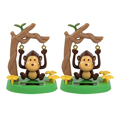 Holibanna Dashboard Monkey Figure Toys Solar Powered Bobbleheads Desktop Swing Animal Decoration 2pcs: Toys & Games