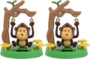 Holibanna Dashboard Monkey Figure Toys Solar Powered Bobbleheads Desktop Swing Animal Decoration 2pcs