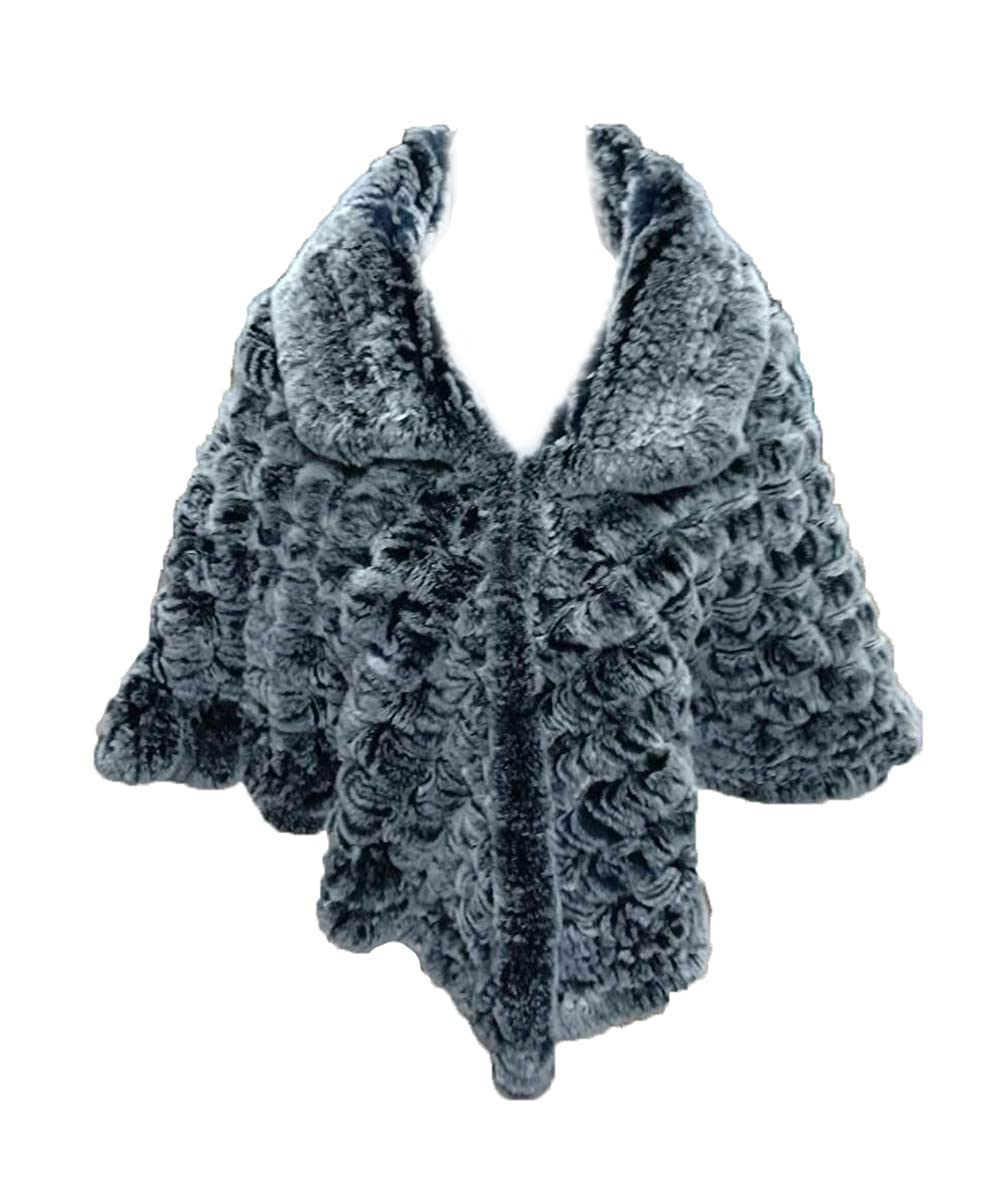 Frost Black With Collar Women's Real Rex Rabbit Fur Semicircle Cape Shawl Cloak Warm Soft