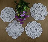 Crochet Doily Placemats Square Round 4 Designs Cup Mat Pad 16-20Cm Crochet Applique 40Pcs/Lot