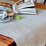 Linen & Cotton Runner Da Tavolo Elegante In Lino Naturale, Motivo Herringbone, 100% Lino (44 x 130cm)