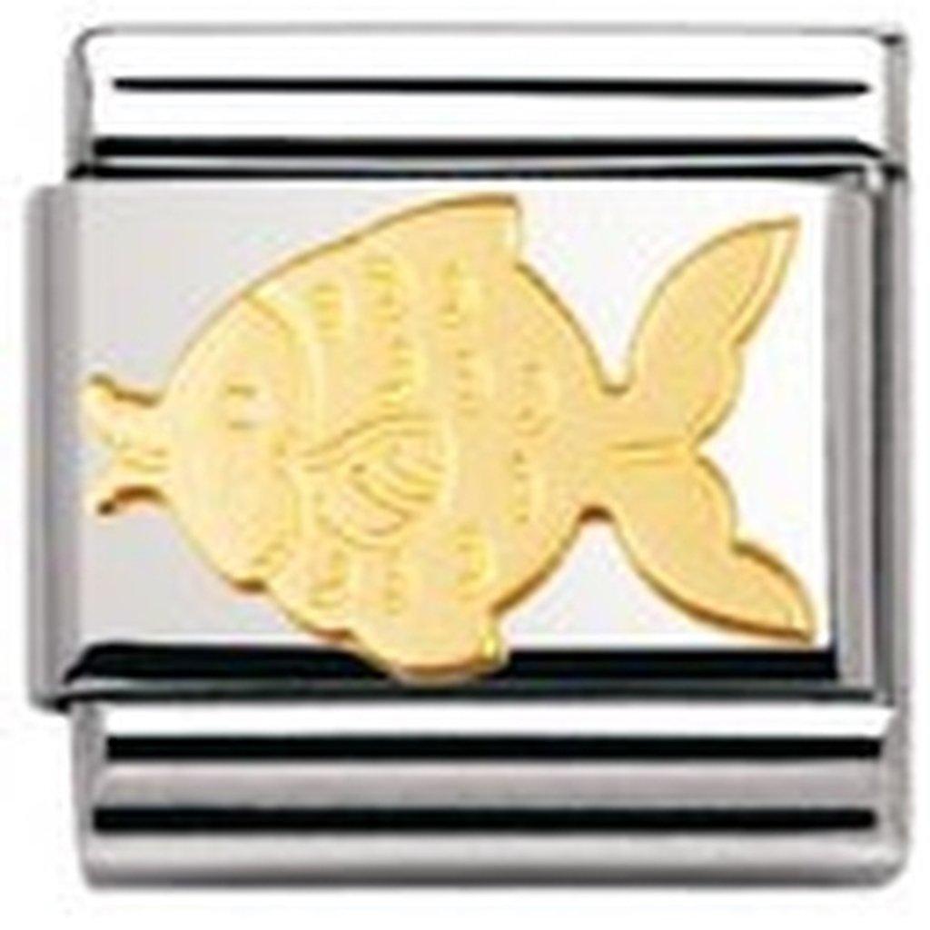 Nomination 030113 - Maillon pour bracelet composable Mixte - Poisson - Acier inoxydable et Or jaune 18 cts