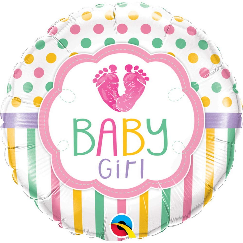 Qualatex 18 Inch Round Foil Balloon - Baby Girl Feet   B01BRRKOJQ