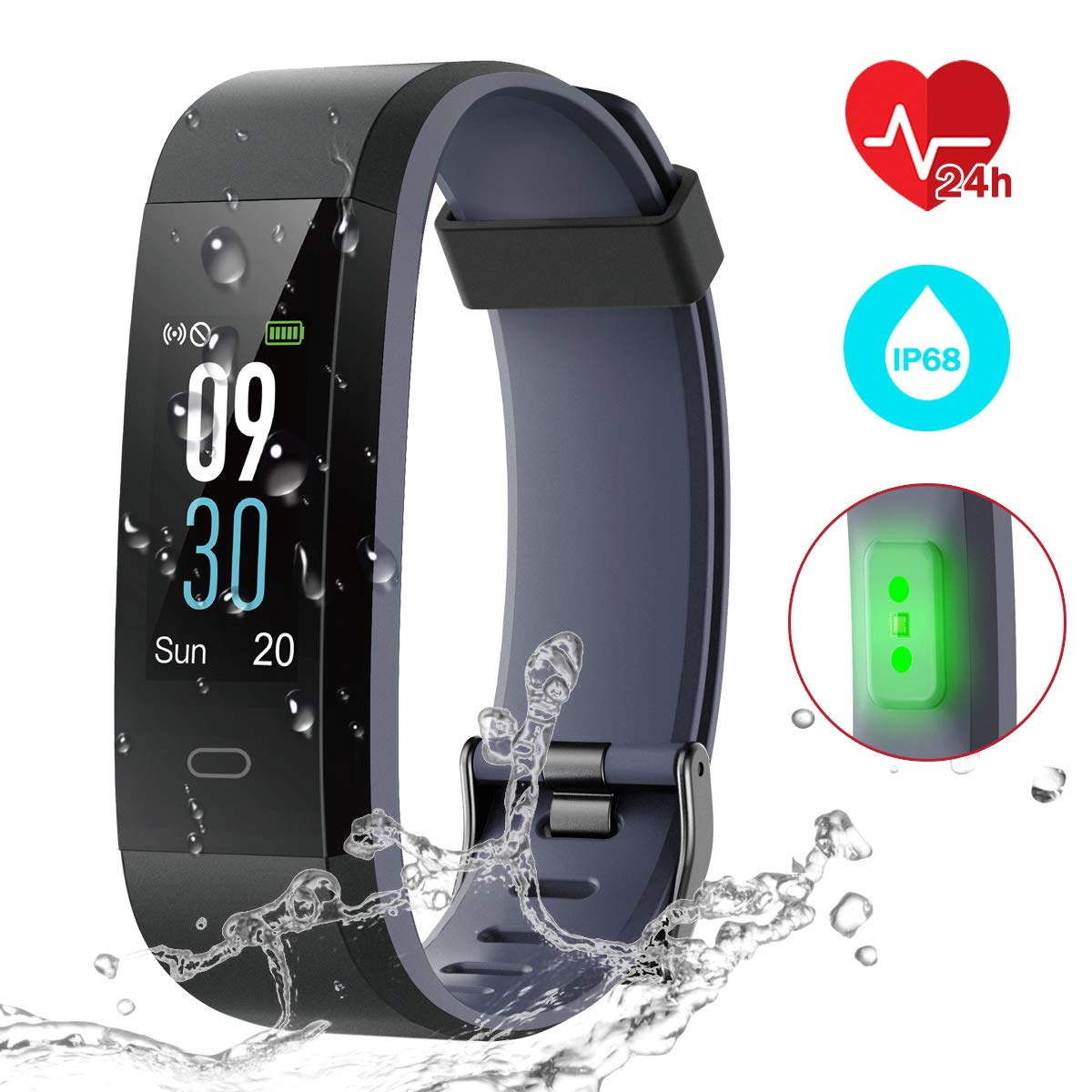 CHEREEKI Fitness Tracker IP68, Pulsera Actividad Inteligente Pantalla Color product image