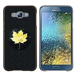 KLONGSHOP // Cubierta de piel con cierre a presión Shell trasero duro de goma Protección Caso - Amarillo hoja de arce - Samsung Galaxy E7 E700 //