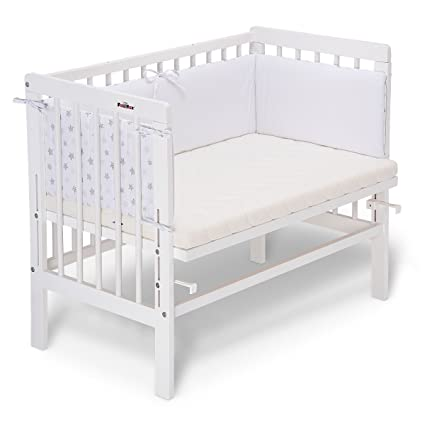 fabimax cama auxiliar Basic Color Blanco, Incluye Colchón y protector de cuna blanco 01.