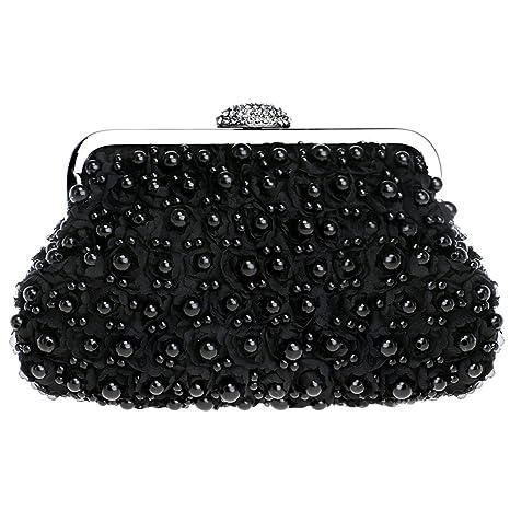 Partido Bolso Mujer Noche Bolsas Nupcial Carteras Mano Perlas Cadena Embrague Negro