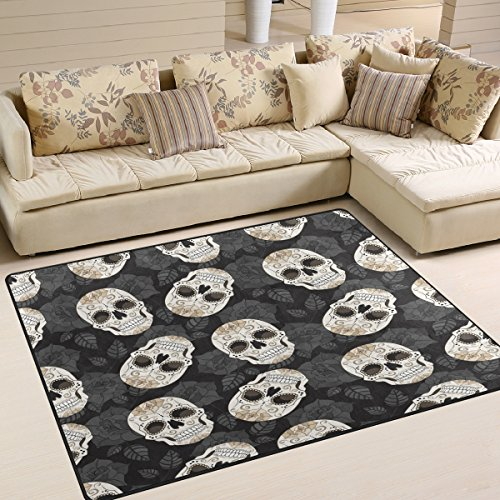 ALAZA Sugar Skull Floral Area Rug Rug Carpet for Living Room Bedroom 5'3 x 4'
