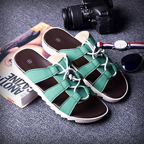 Sandales d'été Trend lin Attaches Chaussures Pantoufles pour 43 plage nbsp;Vert Tongs Chaussons sandales xing Chaussures Pantoufles de Mode homme homme de Chaussons NEUF IxqEct