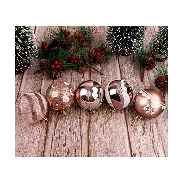 Pveath - Palline decorative, multicolore, infrangibili, per feste di matrimonio e Natale, 6 cm, 24 pezzi Oro rosato 3 spesavip