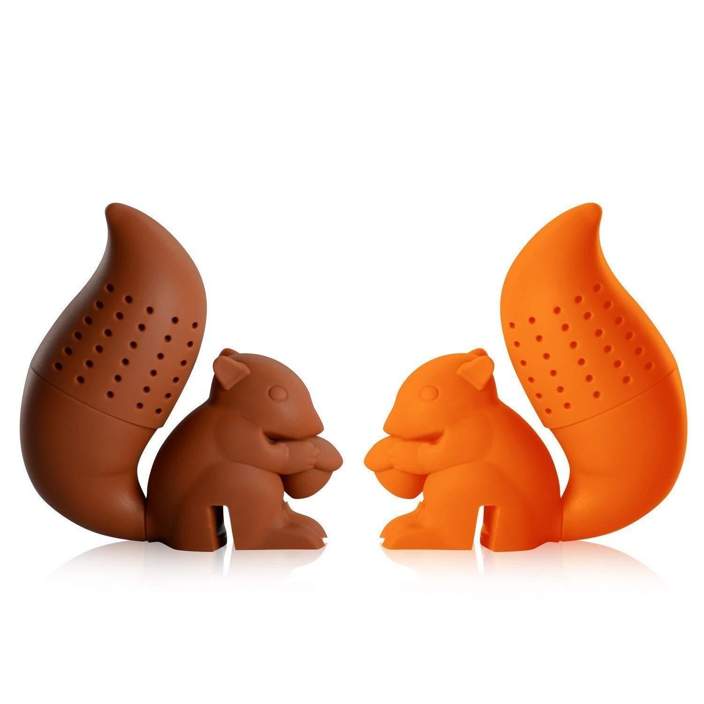 iNeibo Teesieb Teefilter aus Lebensmittelechtem und BPA freiem Silikon, sehr lustiges Teeei mit Eichhörnchen Design 2er Set Bild