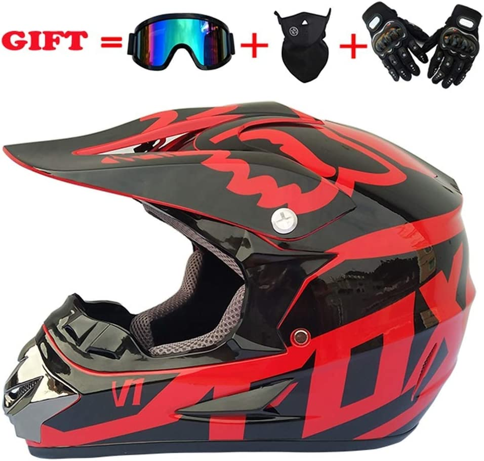 Red Fox Size : L code 56-57CM QIULAO Adult D.O.T Certified Motorcycle Motocross Helmet And Adult MX Motorcycle Helmet Gloves, Glasses, Mask, Set Of 4