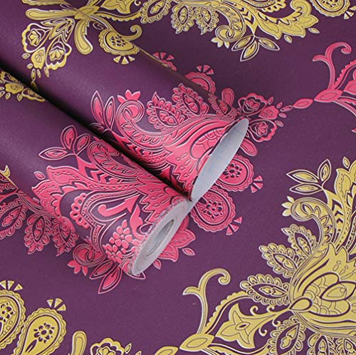 Amao Gorgeous Purple Damask Removable Self-Adhesive Peel-Stick Wallpaper for Cabinet Drawer Countertop Decor17''x78.7''