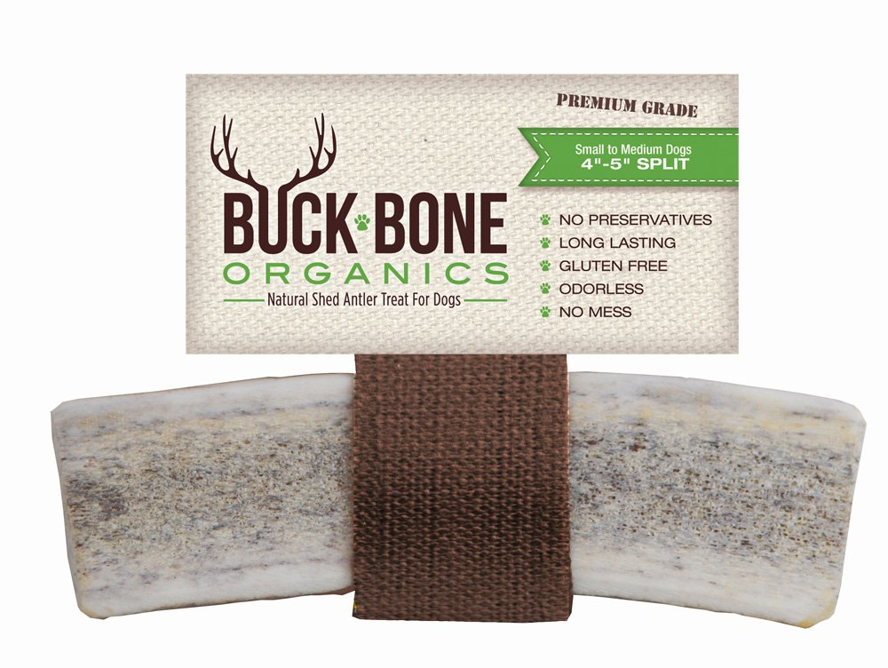 "Elk Antler Dog Chews by Buck Bone Organics, All Natural Healthy Chew, 4.5-5"" Split Antler For Medium Dogs, From Montana, Made in USA - MEDIUM SPLIT"