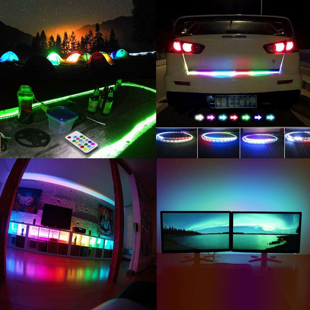 LED Strip Lights USB Powered, abtong Rainbow LED TV Backlight Strip Chase Effect LED Lights Strip with RF Remote Color Changing Accent Light Set Waterproof Bias Lighting with Wall Charger-2M/6.54FT