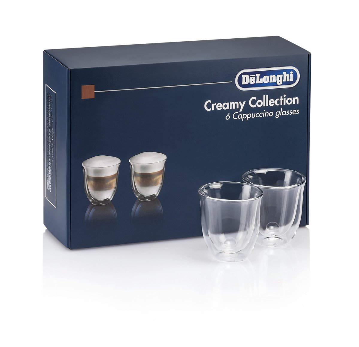 DeLonghi America 5513296661 Creamy Collection Double Walled Thermo Cappuccino Glasses (Set of 6), Clear