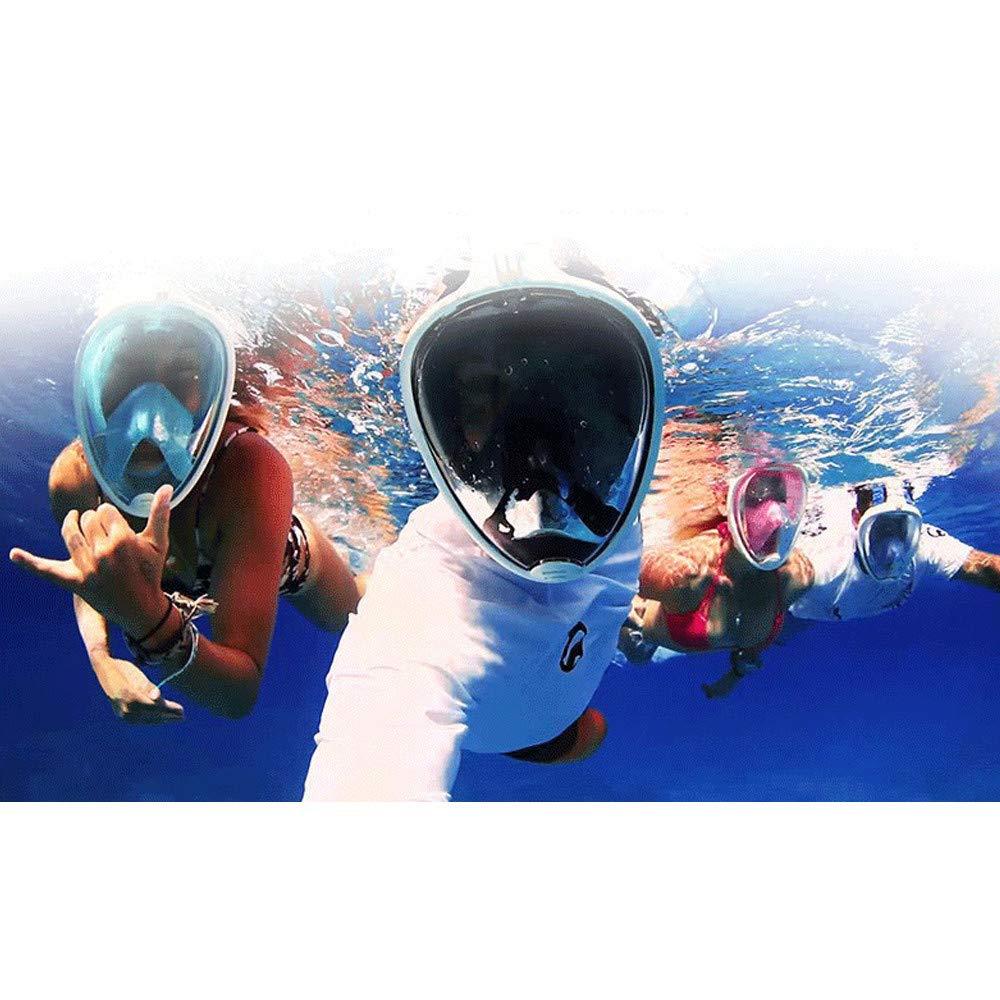 Full Face Snorkel Mask, KingTo Underwater Snorkeling Set 180 Degree Wide Diving Mask Foldable Respiratory Masks Waterproof Scuba Anti Fog Diving Mask Training Dive Equipment (L/XL,Grey) by KingTo (Image #5)