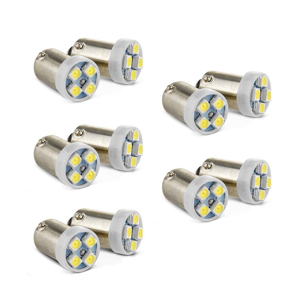 SODIAL(R) 10 x 1156 luci di stazionamento BA9S LED 3528SMD auto freno luce lampeggiante coda bianca KYA317