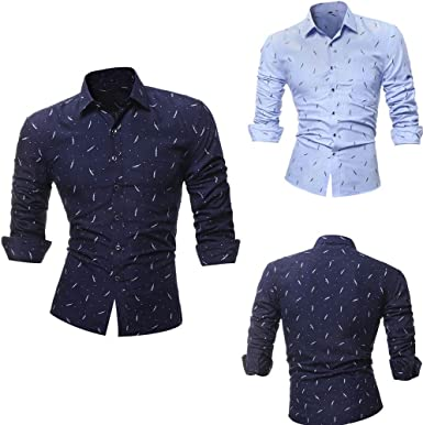 Winwintom Camisa Casual Manga con Botones Camisa De Hombre Camisas Hombre Tallas Grandes, Camisa Casual Hombre Manga Larga De Vestir Color Contraste De Moda: Amazon.es: Ropa y accesorios
