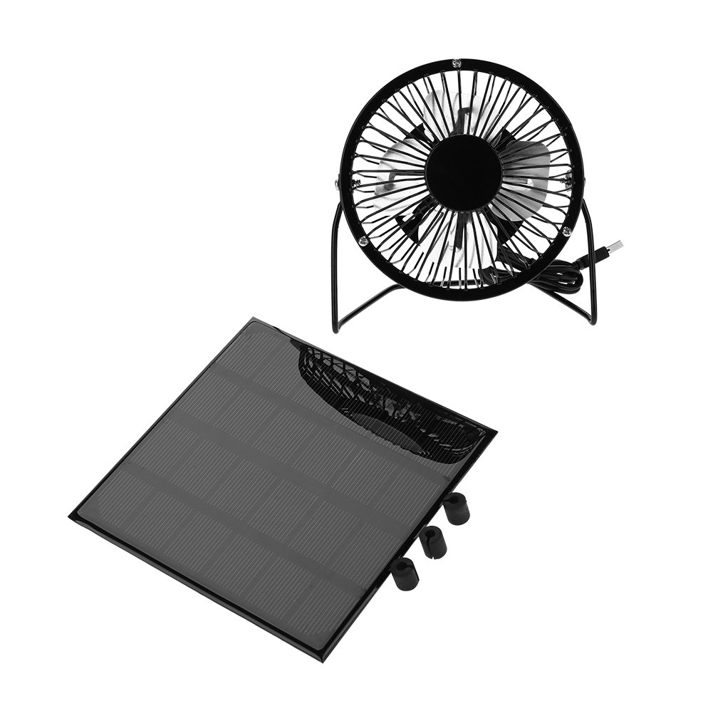 Aramox 3W 6V Mini USB Fan Solar Panel Fan Cooling Kit Outdoor Fans