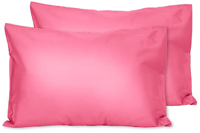 For Pillows Sized 13x18 and 14x19 Envelope Style 2 Pink Cotton Jersey Toddler Pillowcases 2 Pack Machine Washable