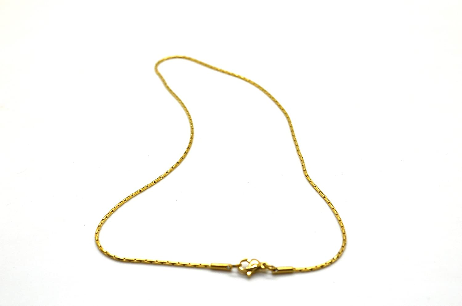 Chelsea Jewelry Basic Collections 1.2mm Wide 18K Gold Round Cleopatra Link Chain Necklace.