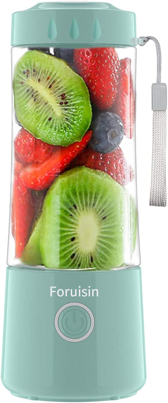 Foruisin Small Portable Juicer, Personal Smoothie Mixer, 14 OZ Small Juicer Cup, Mini Travel Blender, Usb Rechargeble Baby Milkshake Mixing With Six Blades