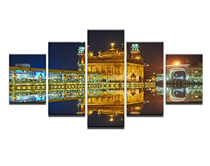 Stampe Per Ufficio : Pcs framed golden temple dawn mirror view stampe su tela