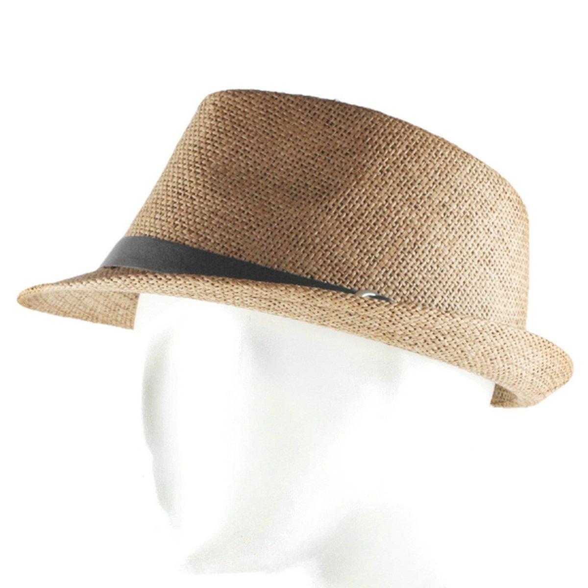 e56d4eed611714 ... Samtree Fedora Hats for Women Men, Short Brim Belt Braid Straw Jazz Cap  Short Brim ...