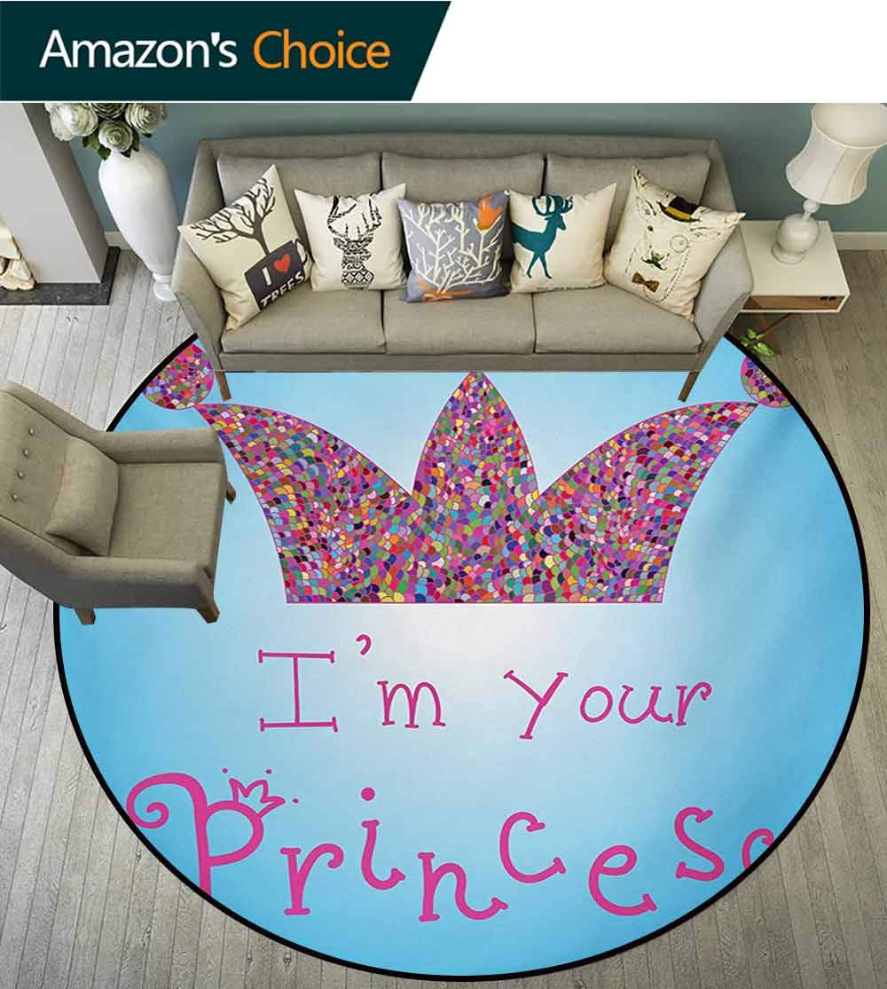 RUGSMAT I Am A Princess Round Rug,Romantic Quote Couples in Love Colorful Mosaic Style Crown Tiara Carpet Door Pad for Bedroom/Living Room/Balcony/Kitchen Mat,Diameter-71 Inch Blue Pink Multicolor by RUGSMAT (Image #2)