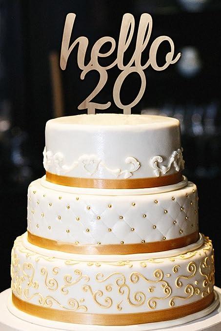 Amazon Com Hello 20 Cake Topper 20th Birthday Cake Topper
