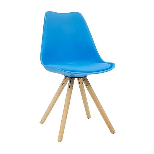 Vaukura Silla Tulip Star - Silla Nórdica de Comedor (Azul)