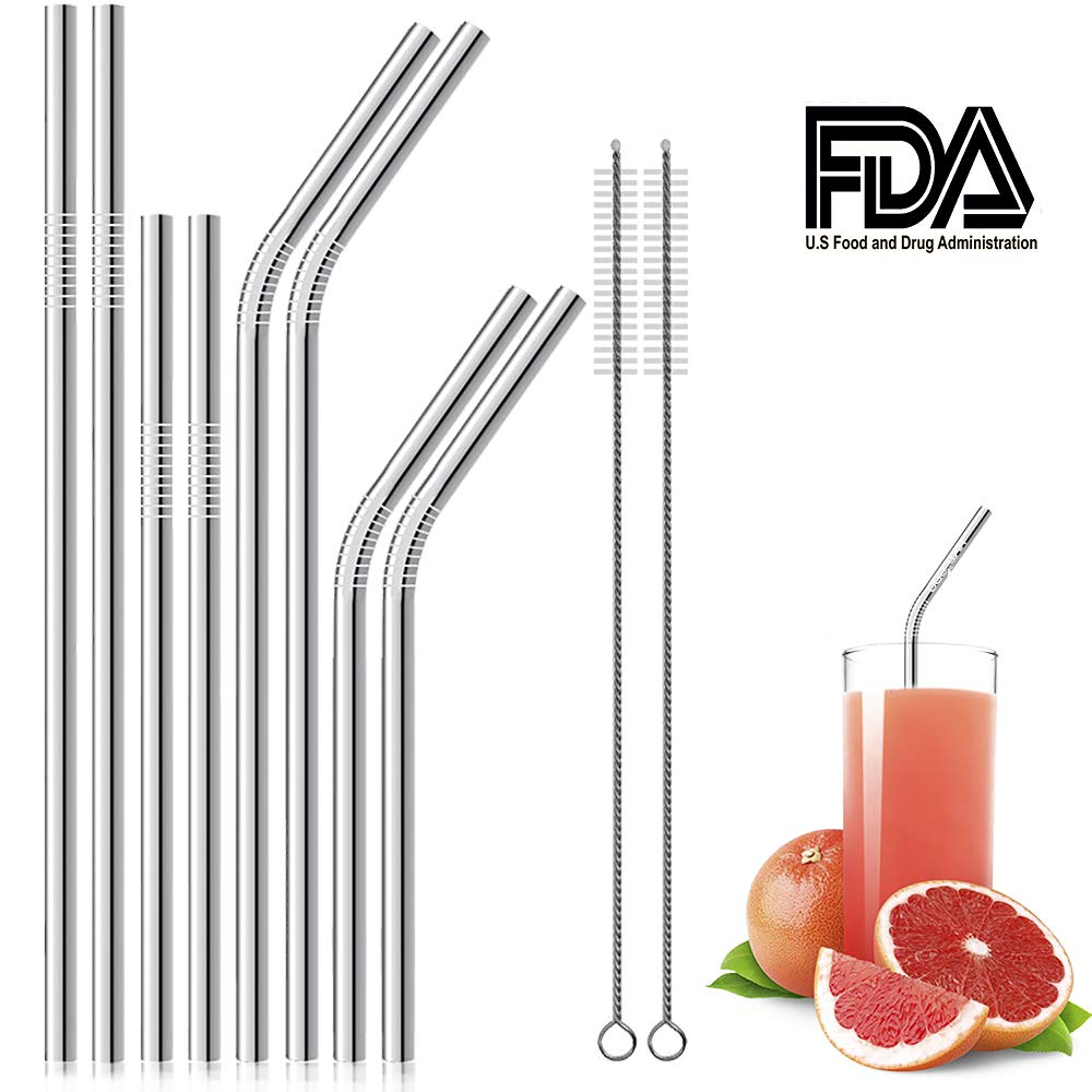 Hytepro set of 8 Stainless Steel Straws Long Bent Reusable Drinking Metal Straws For 30oz 20oz Yeti Tumblers 2 Cleaning Brushes and 1 Bag Included